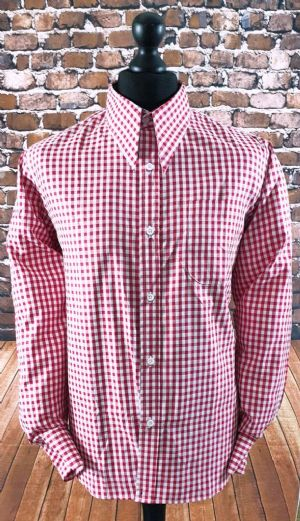 """Crown"" Red Gingham Spear Point Collar Shirt"